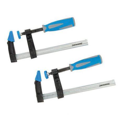 2 serre-joints à pompe saillie de 150 x 50 mm