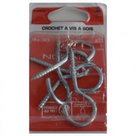 Blister de 5 crochets armoire 4 x 30 mm - Zingué - CRO0403002BCP5