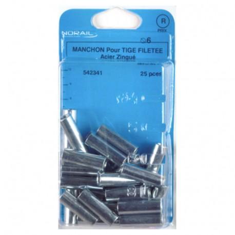 Blister de 25 manchons cylindriques 6 x 30 mm - Zingué - MANC0603002CP25
