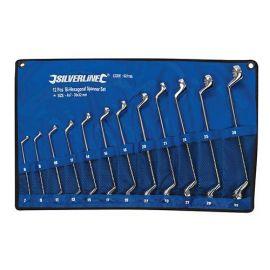 Assortiment de 12 clés à oeil double bi-coudées 6 à 32 mm