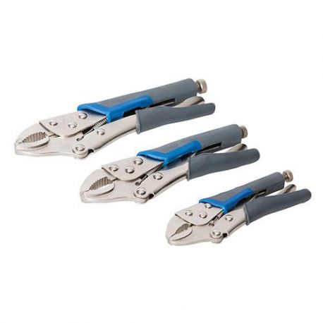 3 pinces autobloquantes poignées caoutchoutées L.130, 170 et 210 mm