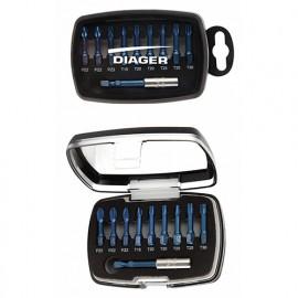 Coffret 10 pcs d'embouts de vissage + porte-embout BLUE SHOCK - 631C - Diager