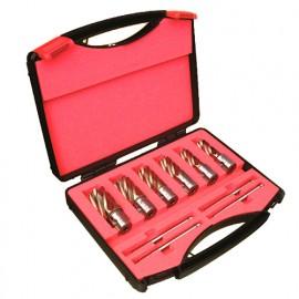 Coffret 6 fraises à carotter HSS EXTREME GOLD D. 14 à 26 x Ht. 30 x Q. Weldon 19 mm + 4 éjecteurs - EXG306 - Martin