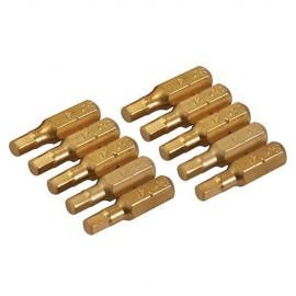 10 embouts de vissage L.25 mm 6 pans ( hexagonal) 5 mm, titane ( TiN) - 783098 - Silverline