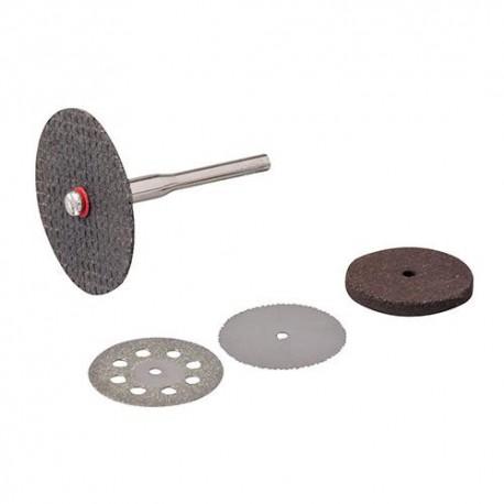 3 disques de coupe et 1 meule sur tige 3,17 mm pour outil multifonction - 783161 - Silverline