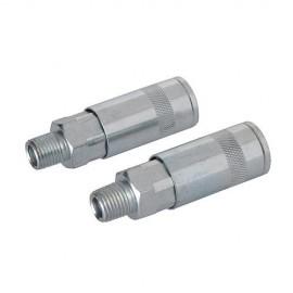 """2 coupleurs rapides pour tuyau air comprimé 1/4"""" BSP - 794320 - Silverline"""