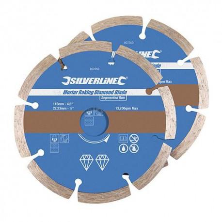 """2 disques diamant segmenté """"PRO""""s à déjointoyer D. 115 x 22,23 mm Ht 7mm Ep 6 - 807350 - Silverline"""