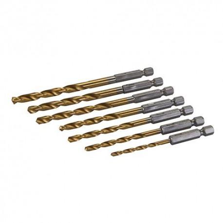Coffret 7 mèches Q. 6 pans 3, 4, 4,5, 5, 5,5, 6 et 6,5 mm - 819714 - Silverline