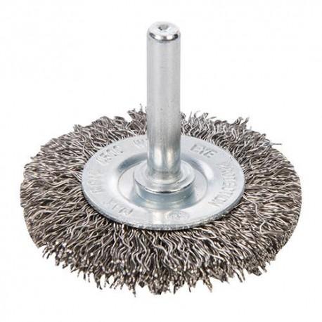 Roue à fils d'acier inox D. 50 mm sur tige - 828396 - Silverline