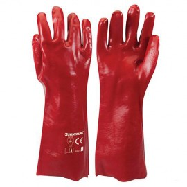 Gants PVC rouges Large - 868551 - Silverline