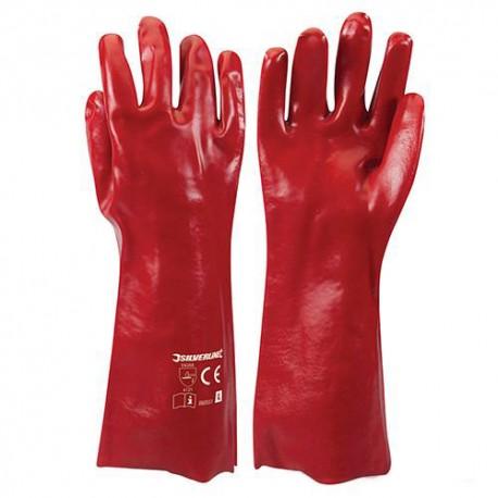 Gants PVC rouges Large - 868551 - Silverline