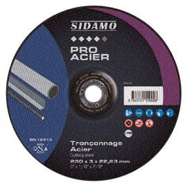 Disque à tronçonner PRO ACIER D. 230 x 3 x Al. 22,23 mm - Acier, métaux ferreux - 10111002 - Sidamo