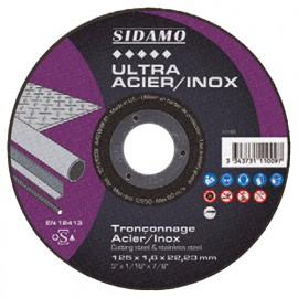 Disque à tronçonner ULTRA ACIER INOX D. 125 x 1 x Al. 22,23 mm - Acier, Inox - 10111008 - Sidamo