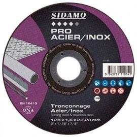 Disque à tronçonner PRO ACIER INOX D. 125 x 1 x Al. 22,23 mm - Acier, Inox - 10111012 - Sidamo