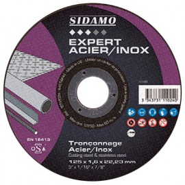 Disque à tronçonner EXPERT ACIER INOX D. 125 x 1 x Al. 22,23 mm - Acier, Inox - 10111021 - Sidamo