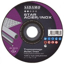 Disque à tronçonner STAR ACIER INOX D. 125 x 1,6 x Al. 22,23 mm - Acier, Inox - 10111033 - Sidamo