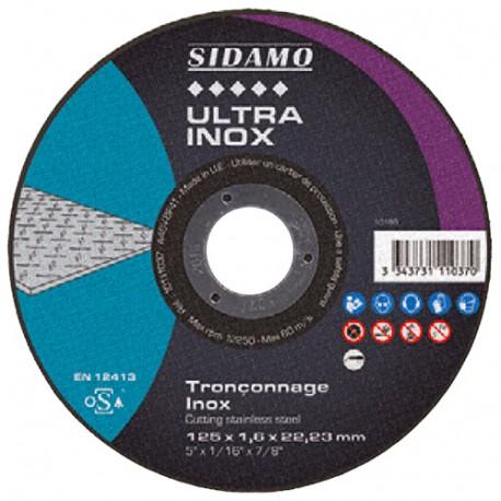 Disque à tronçonner ULTRA INOX D. 125 x 0,8 x Al. 22,23 mm - Inox - 10111035 - Sidamo