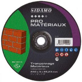 Disque à tronçonner PRO MATERIAUX D. 230 x 3 x Al. 22,23 mm - Matériaux, Béton - 10111044 - Sidamo