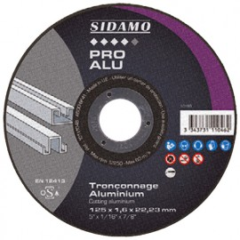 Disque à tronçonner PRO ALU D. 125 x 1,6 x Al. 22,23 mm - Aluminium - 10111046 - Sidamo