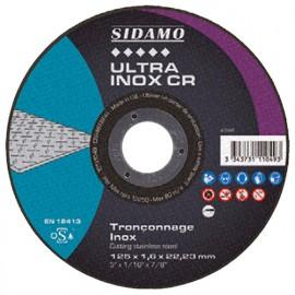 Disque à tronçonner ULTRA INOX CR grain céramique D. 125 x 1,6 x Al. 22,23 mm - Inox, Hardox, Titane - 10111049 - Sidamo