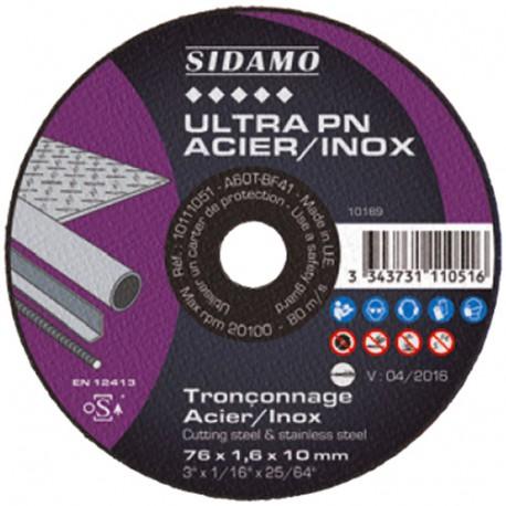 Disque à tronçonner ULTRA PN ACIER INOX D. 76 x 1 x Al. 10 mm - Acier, Inox - 10111050 - Sidamo