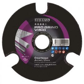 Disque à ébarber PRO GRIND VISIO D. 125 x 4 x Al. 22,23 mm x Gr 60 - Acier, fonte, Inox - 10222000 - Sidamo