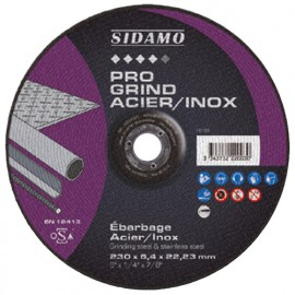 Disque à ébarber PRO GRIND ACIER INOX D. 125 x 6,4 x Al. 22,23 mm - Acier, Inox - 10222002 - Sidamo