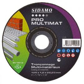 25 disques à tronçonner PRO MULTIMAT D. 125 x 1,6 x Al. 22,23 mm - Multi-matériaux - 10111047 - Sidamo