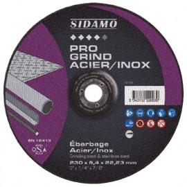 10 disques à ébarber PRO GRIND ACIER INOX D. 125 x 6,4 x Al. 22,23 mm - Acier, Inox - 10222002 - Sidamo