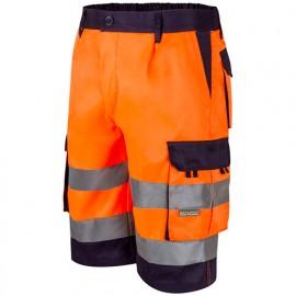 Bermuda de travail bicolore haute visibilité 6 poches - Orange Fluo/Bleu Marine - 303004 - Velilla