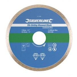 Disque diamant à jante continue lisse D. 115 x 22,23 mm pour carrelage/faïence - 868730 - Silverline