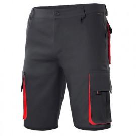 Bermuda de travail bicolore multipoches 65% polyester 35% coton 190 gr/m2 - Noir/Rouge - 103007 - Velilla
