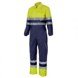 Bleu de travail bicolore haute visibilité 80% polyester 20% coton 210 gr/m2 - Jaune Fluo/Bleu Marine - 151 - Velilla