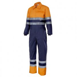 Bleu de travail bicolore haute visibilité 80% polyester 20% coton 210 gr/m2 - Orange Fluo/Bleu Marine - 151 - Velilla