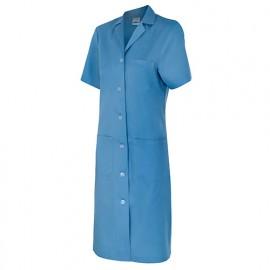 Blouse d'entretien et industrielle manches courtes 3 poches femme 65% polyester 35% coton 175 gr/m2 - Bleu Ciel - 907 - Velilla