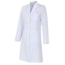 Blouse d'entretien et santé manches longues 3 poches femme 65% polyester 35% coton 210 gr/m2 - Blanc - 539002 - Velilla