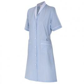 Blouse d'entretien et santé rayée manches courtes femme 65% polyester 35% coton 113 gr/m2 - Bleu Ciel - 952 - Velilla