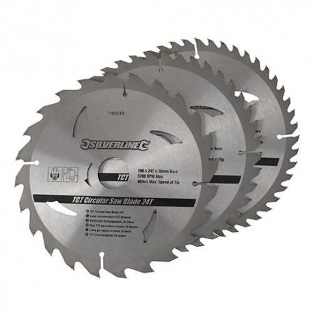3 lames de scie circulaire carbure D. 230 x 30 mm x Z : 24, 40, et 48 - 892547 - Silverline