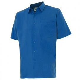 Chemise à manches courtes 1 poche homme 65% polyester 35% coton 104 gr/m2 - Bleu Azur - 531 - Velilla