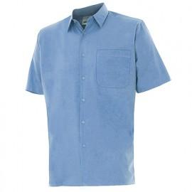 Chemise à manches courtes 1 poche homme 65% polyester 35% coton 104 gr/m2 - Bleu Ciel - 531 - Velilla
