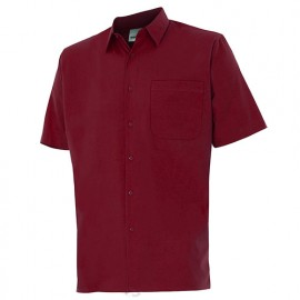 Chemise à manches courtes 1 poche homme 65% polyester 35% coton 104 gr/m2 - Grenat - 531 - Velilla