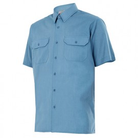 Chemise à manches courtes 2 poches homme 65% polyester 35% coton 104 gr/m2 - Bleu Ciel - 522 - Velilla