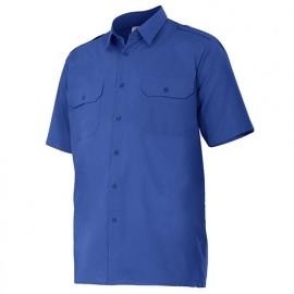 Chemise à manches courtes avec galons 2 poches homme 65% polyester 35% coton 104 gr/m2 - Bleu Azur - 532 - Velilla