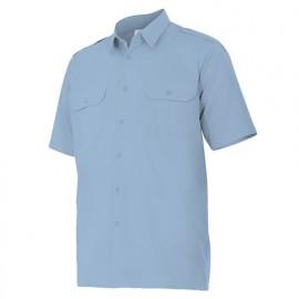 Chemise à manches courtes avec galons 2 poches homme 65% polyester 35% coton 104 gr/m2 - Bleu Ciel - 532 - Velilla