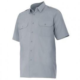 Chemise à manches courtes avec galons 2 poches homme 65% polyester 35% coton 104 gr/m2 - Gris - 532 - Velilla
