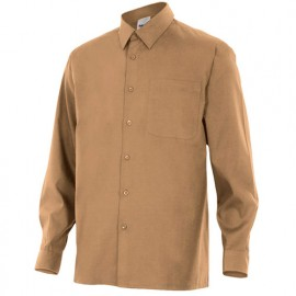 Chemise à manches longues 1 poche homme 65% polyester 35% coton 104 gr/m2 - Beige - 529 - Velilla