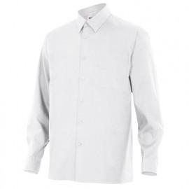 Chemise à manches longues 1 poche homme 65% polyester 35% coton 104 gr/m2 - Blanc - 529 - Velilla
