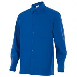 Chemise à manches longues 1 poche homme 65% polyester 35% coton 104 gr/m2 - Bleu Azur - 529 - Velilla
