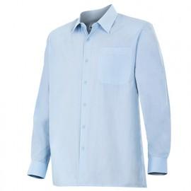 Chemise à manches longues 1 poche homme 65% polyester 35% coton 104 gr/m2 - Bleu Ciel - 529 - Velilla