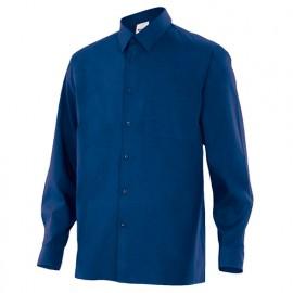 Chemise à manches longues 1 poche homme 65% polyester 35% coton 104 gr/m2 - Bleu Marine - 529 - Velilla